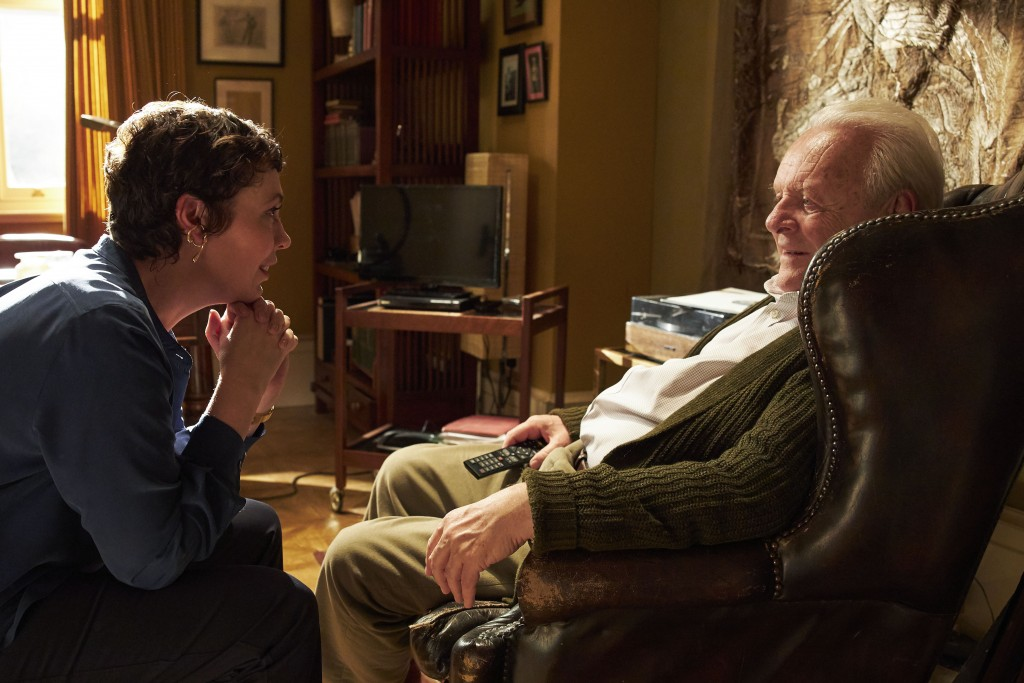 """This image released by Sony Pictures Classics shows Olivia Colman, left, and Anthony Hopkins in a scene from """"The Father.""""  (Sean Gleason/Sony Picture..."""