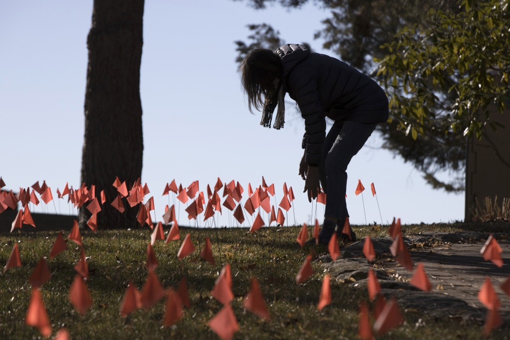 Cindy Pollack does maintenance on the construction flags in her front yard in Boise, Idaho, on Wednesday, Feb. 10, 2021. Pollock began planting the ti...