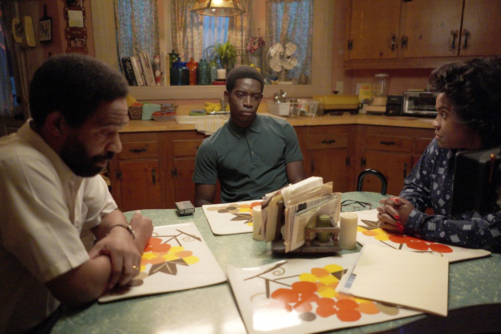 "This image released by FX shows, from left, Kevin Carroll as Alton, Damson Idris as Franklin Saint, and Michael Hyatt as Cissy Saint in a scene from ""..."