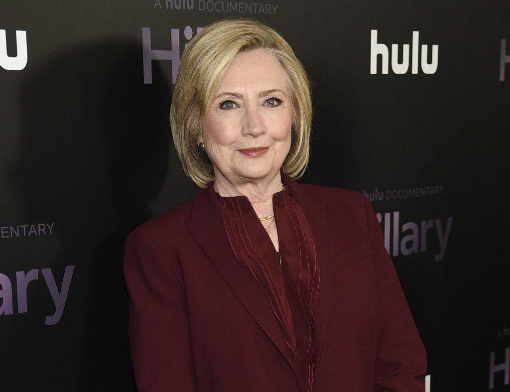"""FILE - Former secretary of state Hillary Clinton attends the premiere of the Hulu documentary """"Hillary"""" in New York on March 4, 2020. Clinton is teami..."""