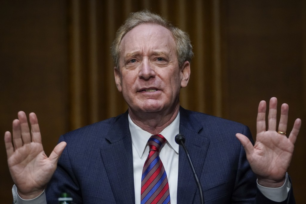 Microsoft President Brad Smith speaks during a Senate Intelligence Committee hearing on Capitol Hill on Tuesday, Feb. 23, 2021 in Washington. (Drew An...