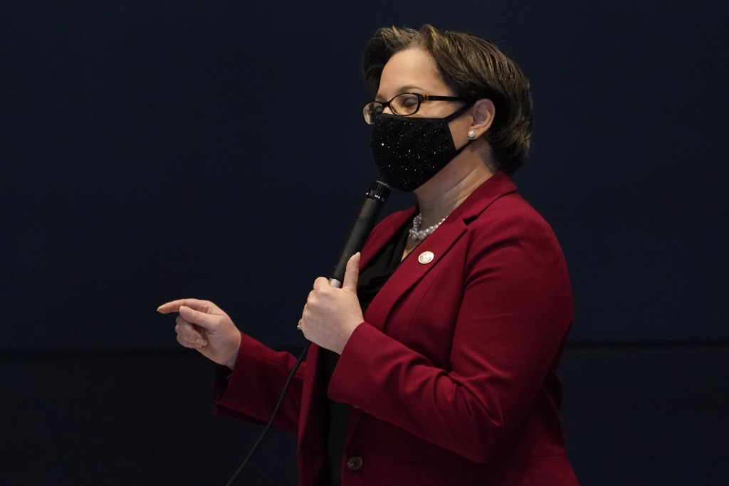 Virginia State Sen. Jennifer McClellan, D-Richmond, gestures during debate on a bill calling for the removal of the statue of former Senator Harry F. ...