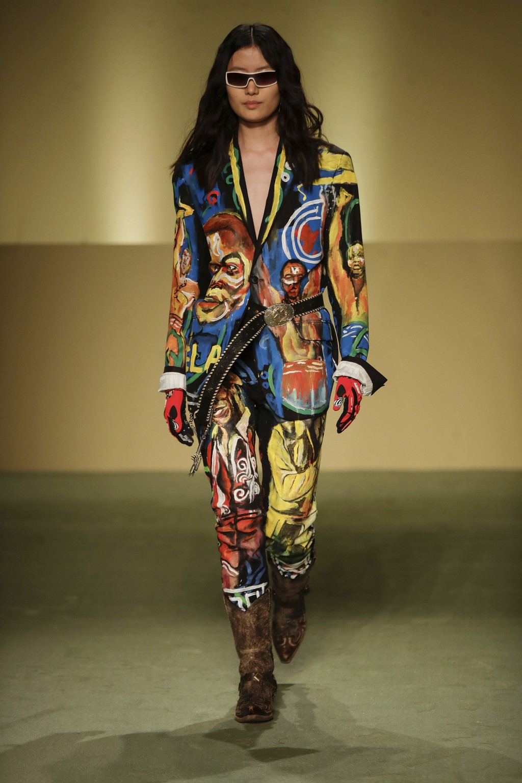 A model wears a creation by fashion designer Mokodu Fall as part of the Black Lives Matter Fall/Winter 2021/22 collective fashion show, presented in M...
