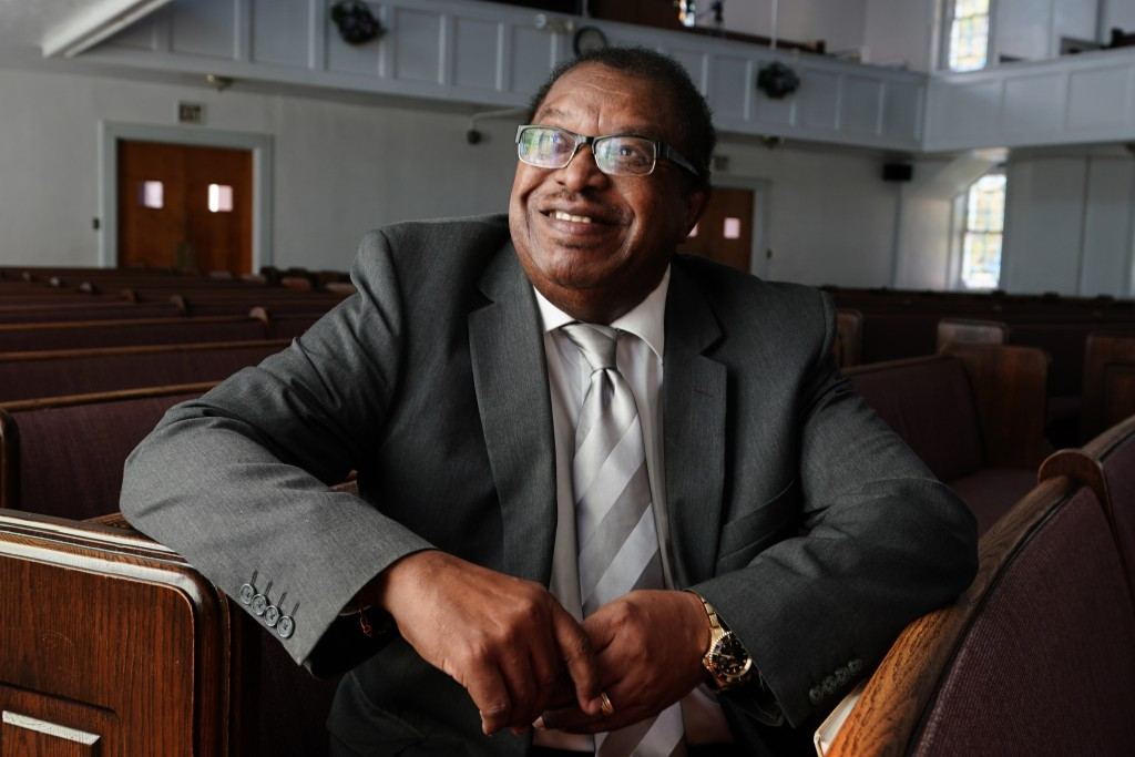 Rev. Timothy McDonald III poses for a portrait at First Iconium Baptist Church,  Monday, Feb. 22, 2021, in Atlanta. After record turnout led to stunni...