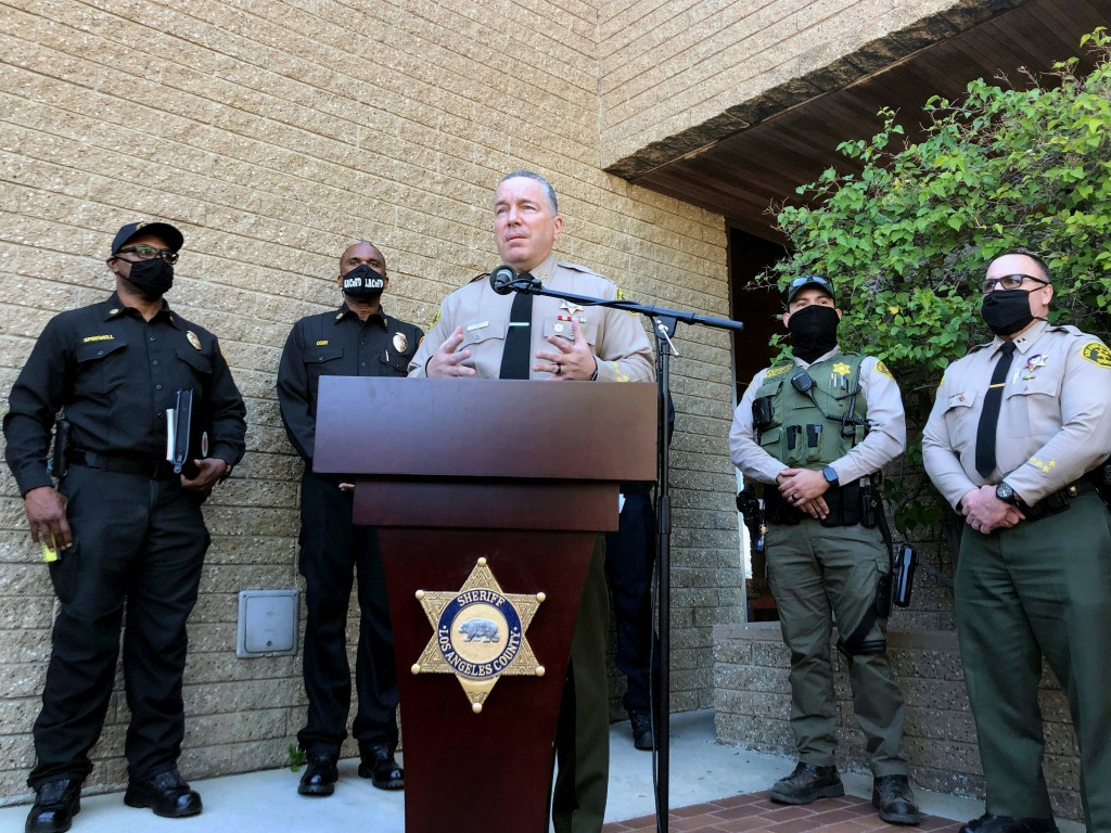 Los Angeles County Sheriff Alex Villanueva speaks Tuesday, Feb. 23, 2021 at the Lomita sheriff's station in Lomita, Calif., about the Tiger Woods car ...