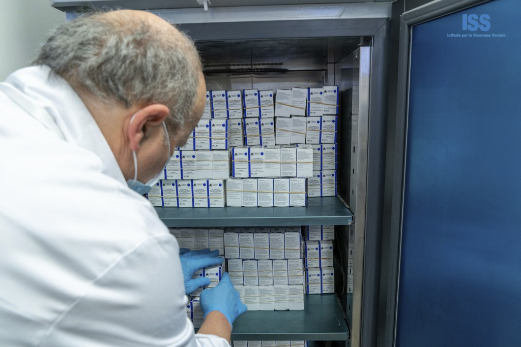 Russian vaccine Sputnik V doses are stored in San Marino, Tuesday, Feb. 23, 2021. The Republic of San Marino, a city state surrounded by Italy, is wel...