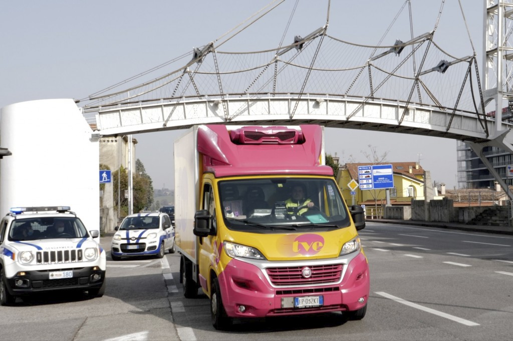 A truck with Russian vaccine Sputnik V's doses crosses San Marino border, Tuesday, Feb. 23, 2021. The Republic of San Marino, a city state surrounded ...