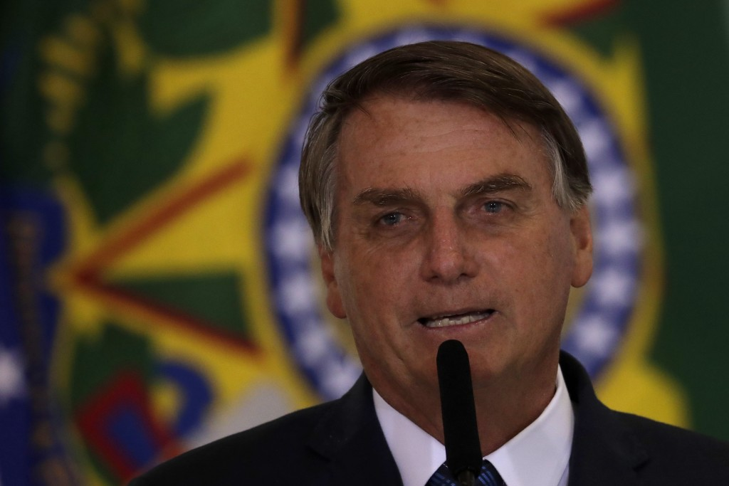 Brazil's President Jair Bolsonaro speaks during a ceremony to present the government's agenda to the newly elected mayors, at the Planalto Presidentia...