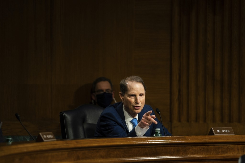 Sen. Ron Wyden, D-Ore., speaks during a Senate Intelligence Committee hearing on Capitol Hill on Tuesday, Feb. 23, 2021 in Washington. (Demetrius Free...