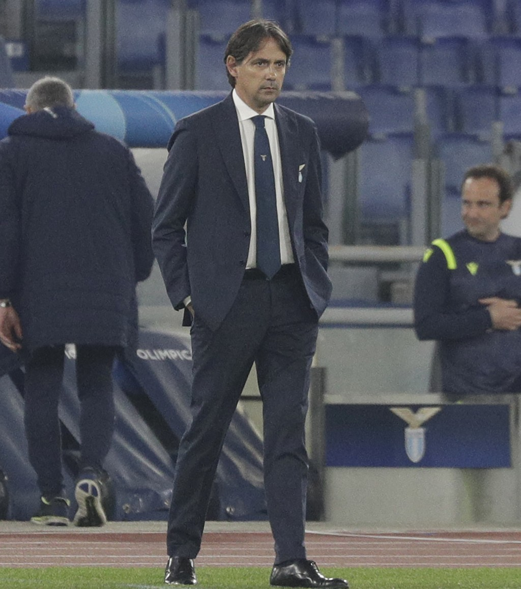 Lazio's head coach Simone Inzaghi stands during the Champions League round of 16 first leg soccer match between Lazio and Bayern Munich at the Olympic...