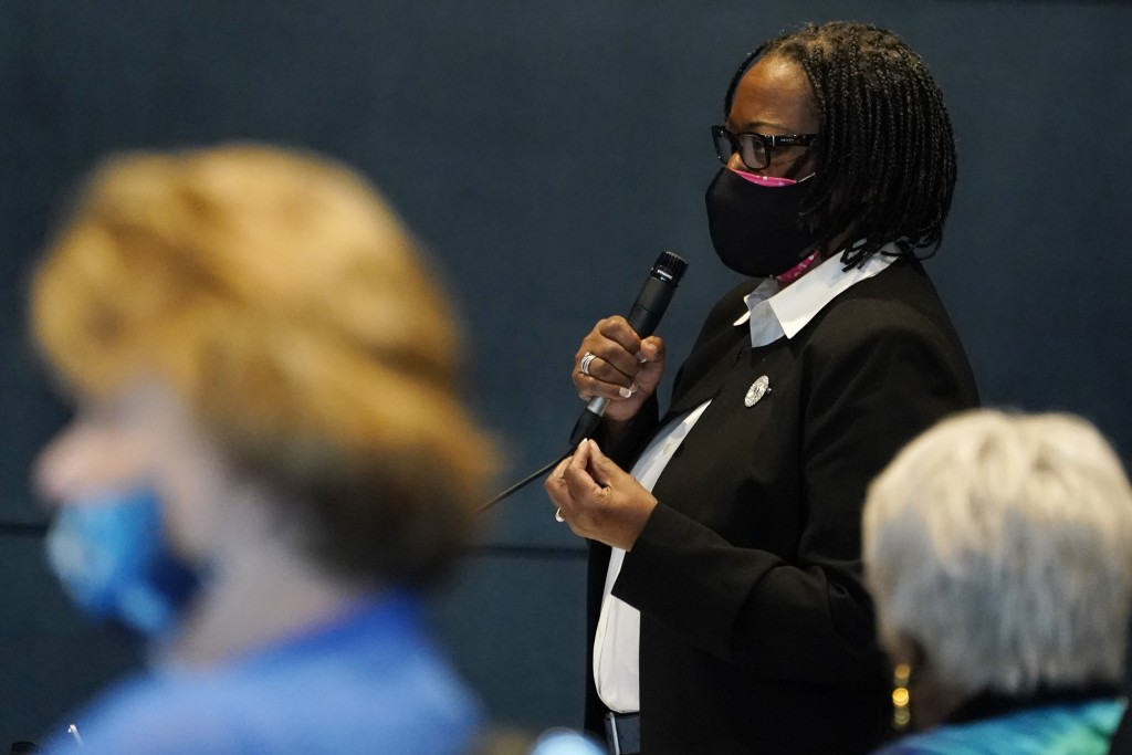 Virginia State Sen. Maime Locke, D-Hampton gestures during debate on a bill calling for the removal of the statue of former Senator Harry F. Byrd Sr. ...