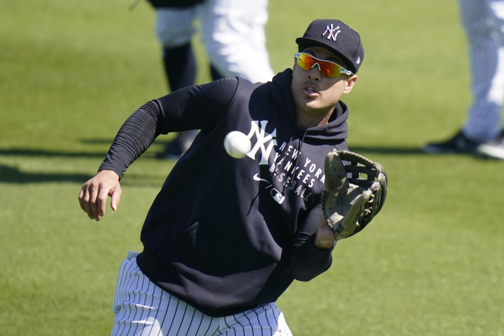 New York Yankees' Giancarlo Stanton catches a ball during a spring training baseball workout Tuesday, Feb. 23, 2021, in Tampa, Fla. (AP Photo/Frank Fr...