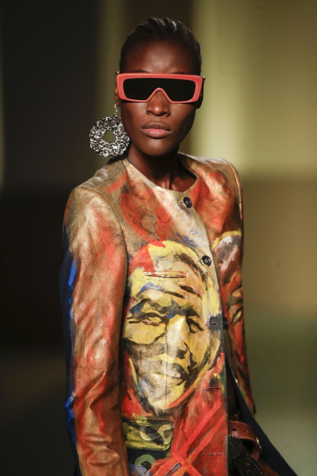 A model wears a creation by fashion designer Fabiola Manirakiza's Frida Kiza, as part of the Black Lives Matter Fall/Winter 2021/22 collective fashion...