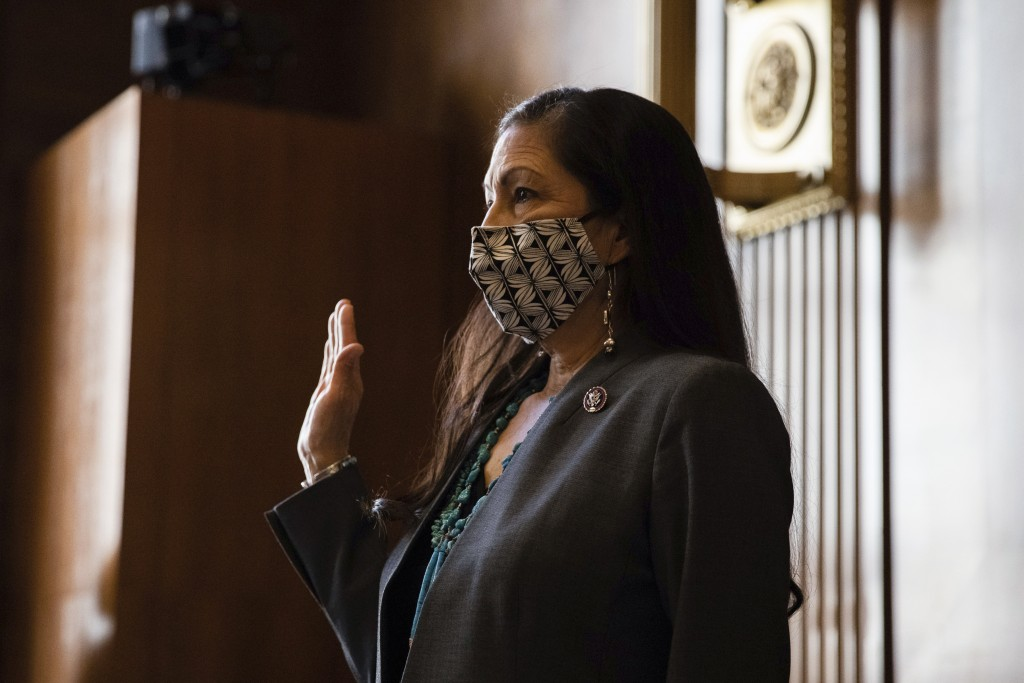 Rep. Deb Haaland, D-N.M., is sworn in during a Senate Committee on Energy and Natural Resources hearing on her nomination to be Interior Secretary, Tu...