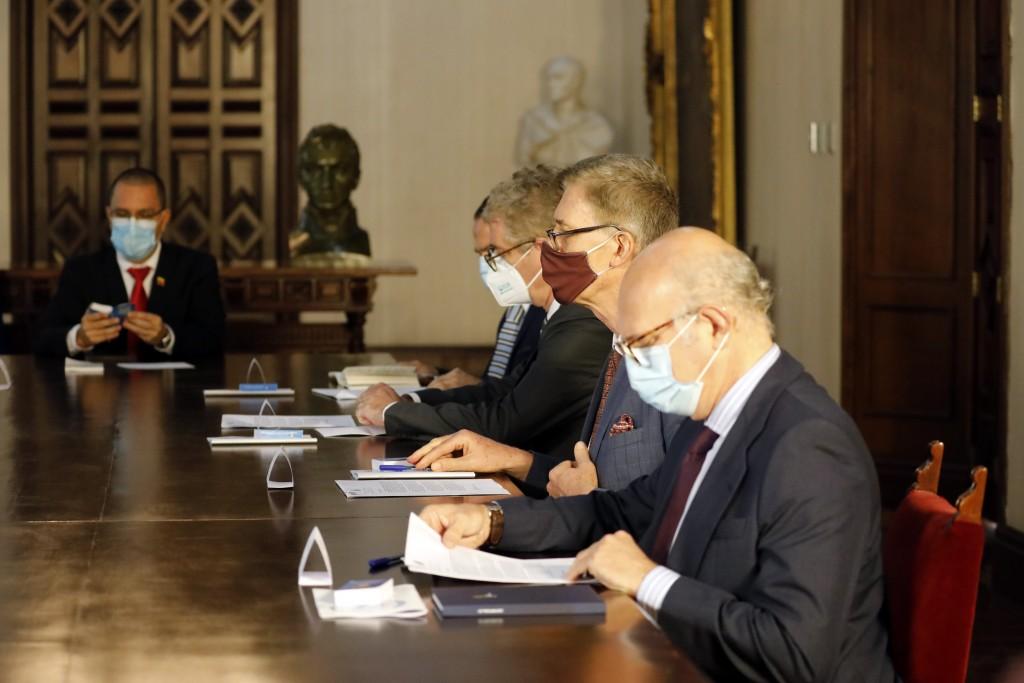 Spain's representative in Venezuela Juan Fernandez Trigo, front, sits with Netherland's Charge d'Affaires Robert Schuddeboom, Germany's Ambassador to ...