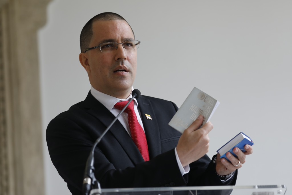 Venezuelan Foreign Minister Jorge Arreaza gives a news conference at his office moments after he met with European Union Ambassador to Venezuela Isabe...