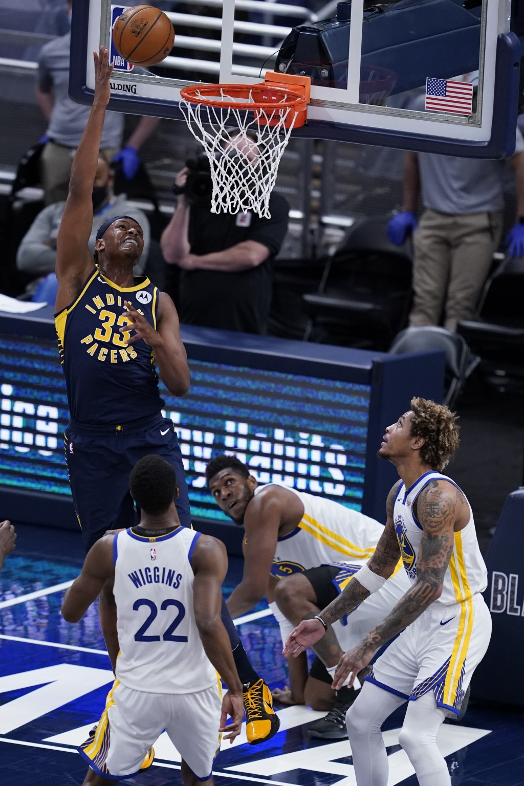 Indiana Pacers' Myles Turner (33) shoots during the second half of the team's NBA basketball game against the Golden State Warriors, Wednesday, Feb. 2...