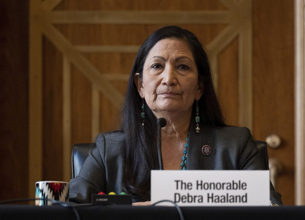 FILE - In this Tuesday, Feb. 23, 2021, file photo, Rep. Deb Haaland, D-N.M., listens during the Senate Committee on Energy and Natural Resources heari...