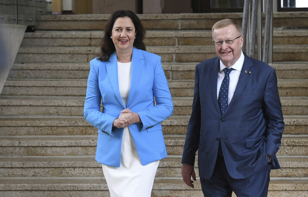 Queensland Premier Annastacia Palaszczuk, left, and AOC President John Coates attend a media conference following news Queensland's bid to host the 20...