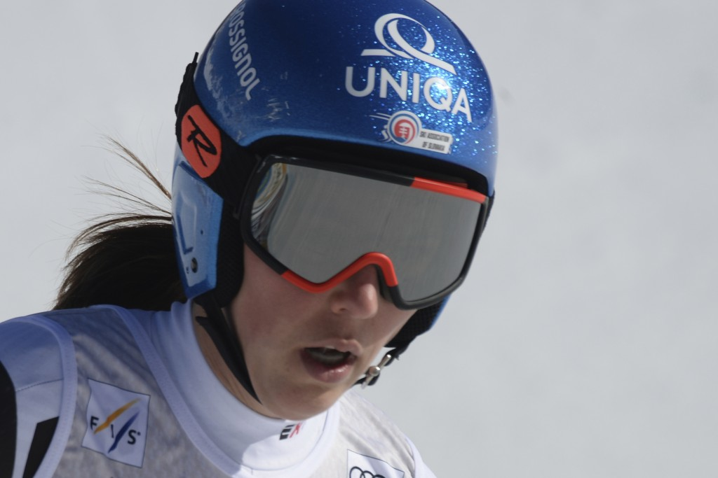 Slovakia's Petra Vlhova reacts after completing an alpine ski, women's World Cup downhill, in Val di Fassa, Italy, Friday, Feb. 26, 2021. (AP Photo/El...