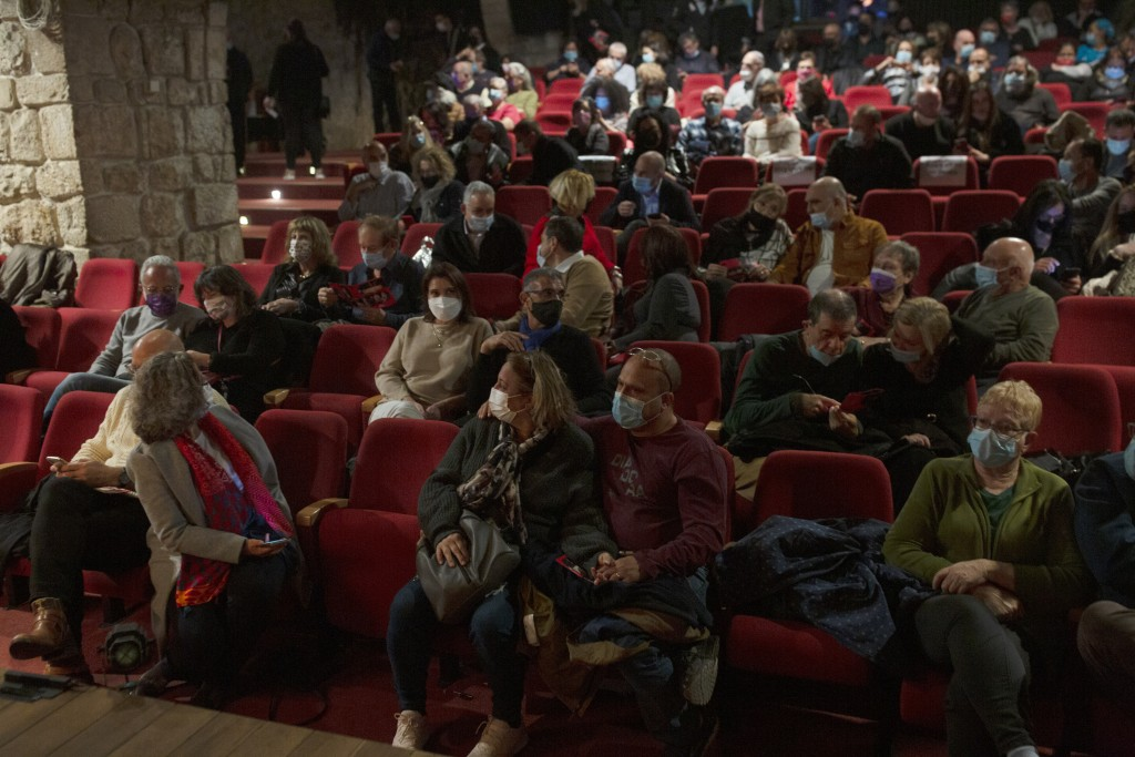 The audience waits on opening night at the Khan Theater during a performance where all guests were required to show proof of receiving a COVID-19 vacc...