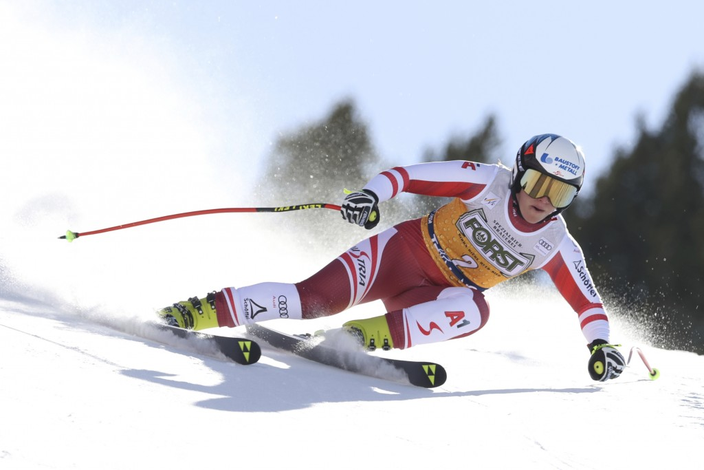 Austria's Ramona Siebenhofer speeds down the slope during an alpine ski, women's World Cup downhill, in Val di Fassa, Italy, Friday, Feb. 26, 2021. (A...