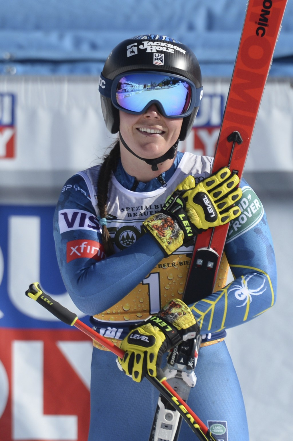 United States' Breezy Johnson reacts after completing an alpine ski, women's World Cup downhill, in Val di Fassa, Italy, Friday, Feb. 26, 2021. (AP Ph...