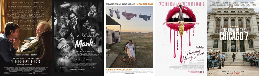 """This combination photo shows poster art for Golden Globe nominees for best picture drama, from left, """"The Father,"""" """"Mank,"""" """"Nomadland,"""" """"Promising You..."""