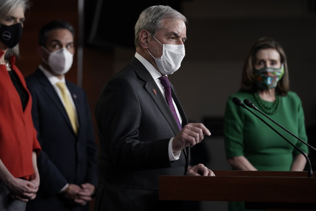 House Budget Committee Chairman John Yarmuth, D-Ky., speaks meets with reporters before the House votes to pass a $1.9 trillion pandemic relief packag...