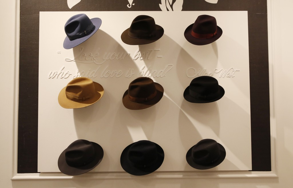 A view of creations part of the Borsalino women's and men's Fall Winter 2021-22 collection, unveiled during the Fashion Week in Milan, Italy, Wednesda...