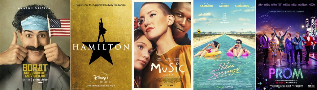 """This combination photo shows poster art for the Golden Globe nominees for best picture musical/comedy, from left, """"Borat Subsequent Moviefilm,"""" Hamilt..."""