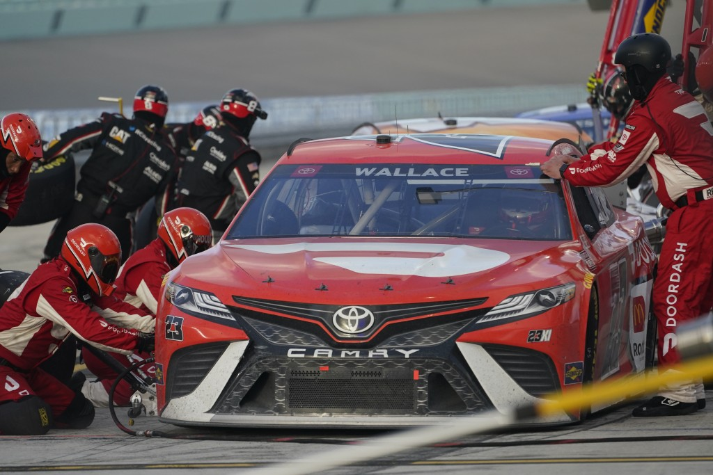 Bubba Wallace pits during a NASCAR Cup Series auto race, Sunday, Feb. 28, 2021, in Homestead, Fla. (AP Photo/Wilfredo Lee)