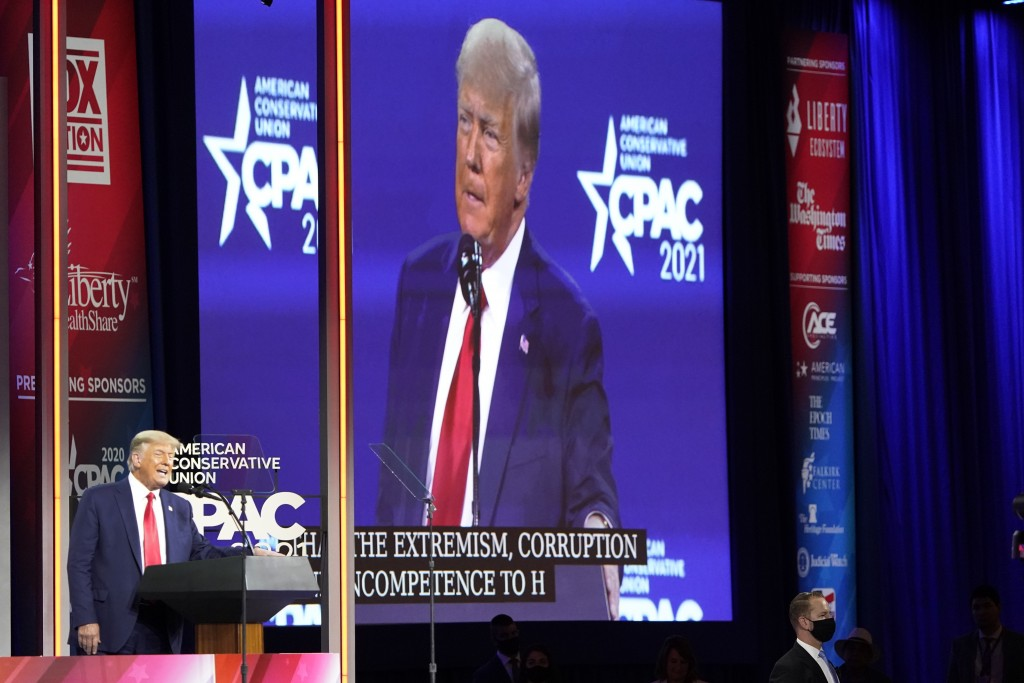 Former president Donald Trump speaks at the Conservative Political Action Conference (CPAC) Sunday, Feb. 28, 2021, in Orlando, Fla. (AP Photo/John Rao...