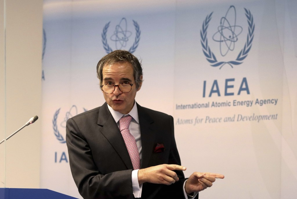 Director General of International Atomic Energy Agency, IAEA, Rafael Mariano Grossi from Argentina, addresses the media during a news conference behin...