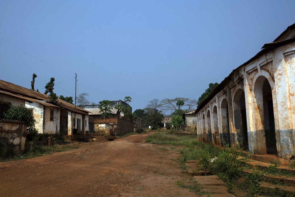 The streets of Bangassou, Central African Republic, remain empty on Saturday Feb. 13, 2021, as most residents fled when rebels attacked with heavy wea...