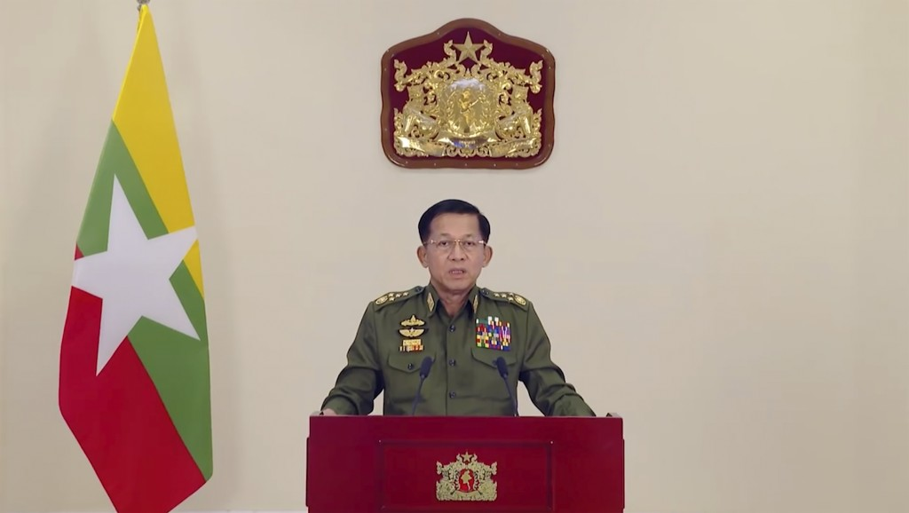 In this image taken from video posted in Tatmadaw True Information Team Facebook page, State Administrative Council Chairman and Commander-in-Chief Se...