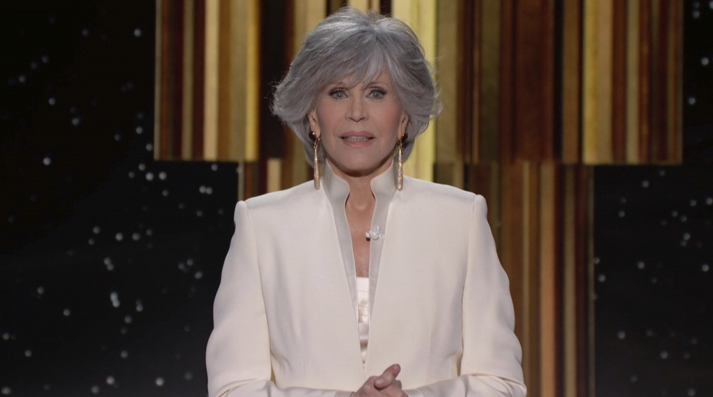 In this video grab issued Sunday, Feb. 28, 2021, by NBC, Jane Fonda accepts the Cecil B. deMille Award at the Golden Globe Awards. (NBC via AP)