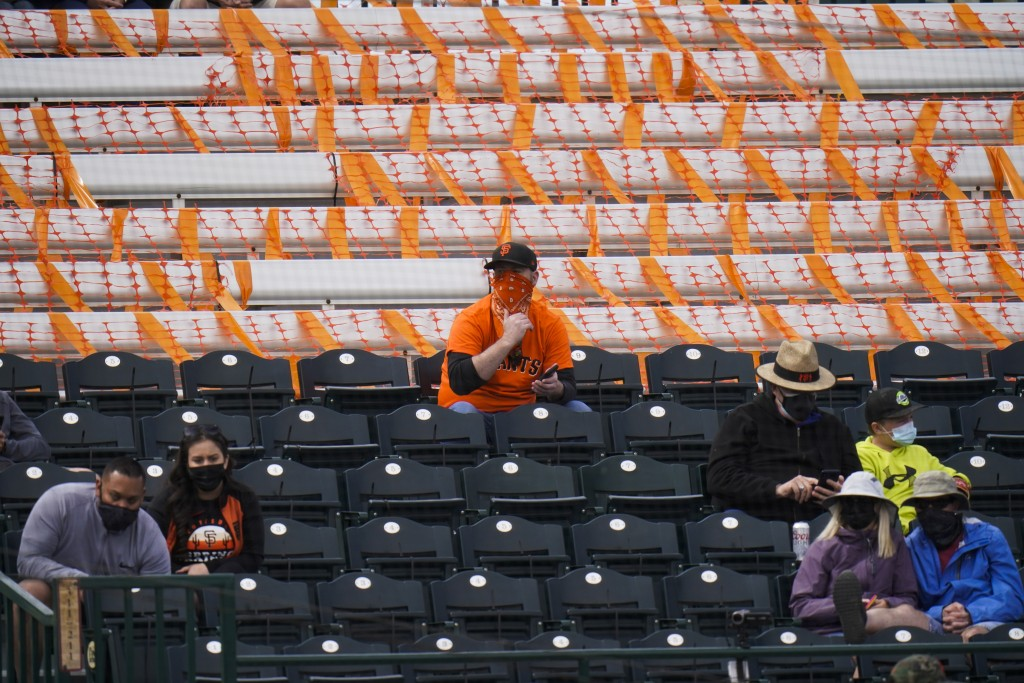 Fans are socially distanced as they watch a spring baseball game between the San Francisco Giants and the Los Angeles Angels in Scottsdale, Ariz., Sun...