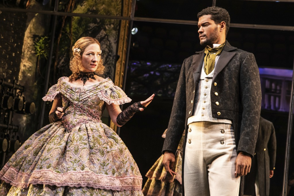 """Annie McNamara, left, and Sullivan Jones wear costumes designed by Dede Ayite during a performance of """"Slave Play"""" in New York. Ayite has earned two 2..."""