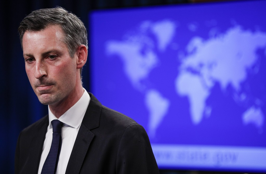 State Department Spokesman Ned Price speaks to reporters during a news briefing at the State Department in Washington, on Monday, March 1, 2021. (Tom ...