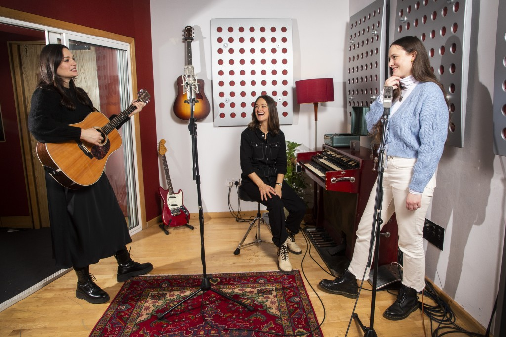 Members of the folk group The Staves, from left, sisters, Jessica, Emily and Camilla Staveley-Taylor appear in a north London recording studio, on Feb...