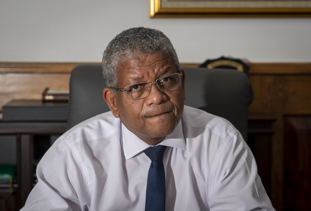 President Wavel Ramkalawan speaks to The Associated Press at State House in the capital Victoria, Mahe Island, Seychelles Thursday, Feb. 25, 2021. The...