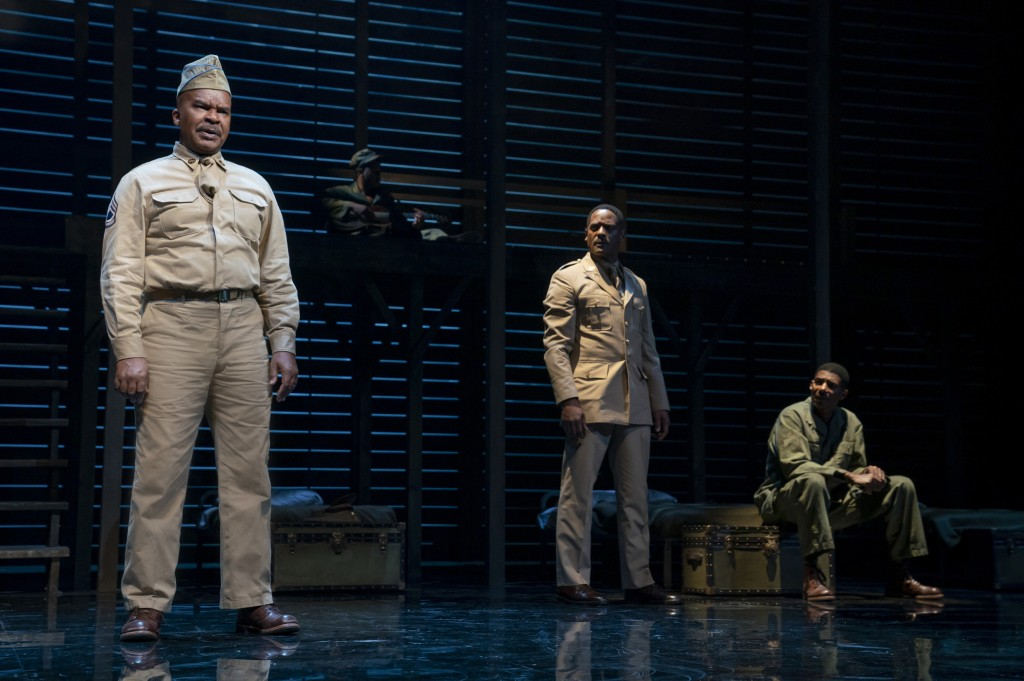"""This image released by Polk & Co. shows David Alan Grier, from left, Blair Underwood, and Billy Eugene Jones during a performance of """"A Soldier's Play..."""