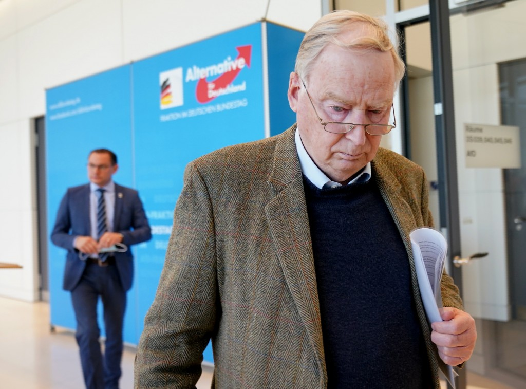 Alexander Gauland, parliamentary party leader of the AfD, walks in front of Tino Chrupalla, federal spokesman of the AfD after a statement in Berlin, ...