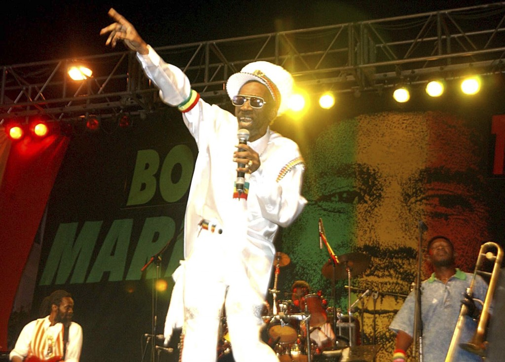 FILE - In this Feb. 6, 2005 file photo, Bunny Wailer performs at the One Love concert to celebrate Bob Marley's 60th birthday, in Kingston, Jamaica.  ...