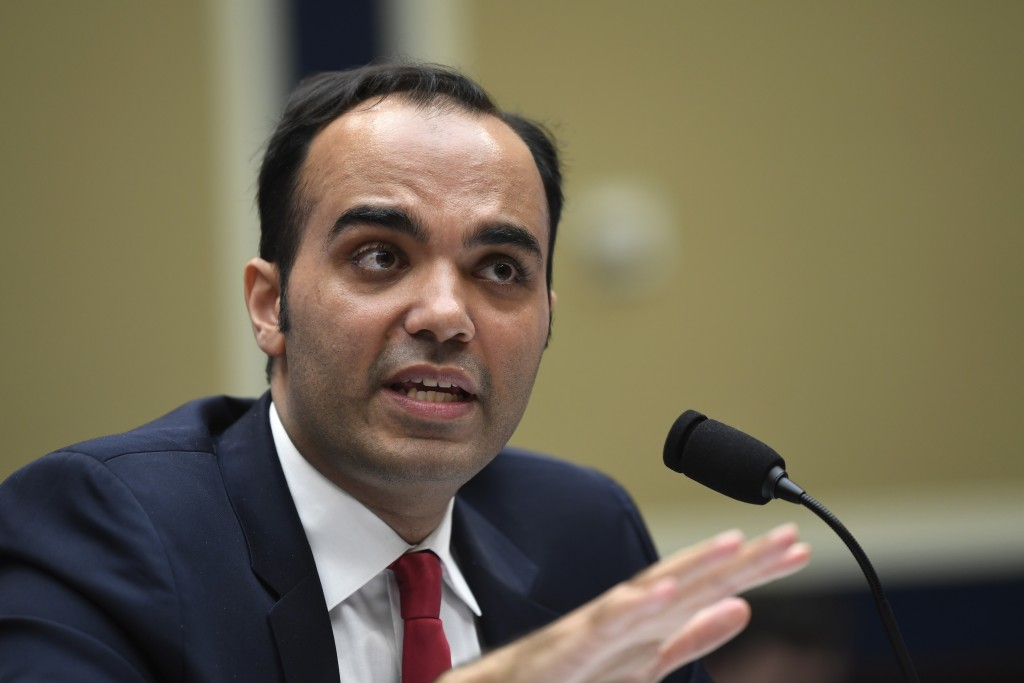 FILE - In this May 8, 2019 file photo, then Federal Trade Commission commissioner Rohit Chopra testifies during a House Energy and Commerce subcommitt...