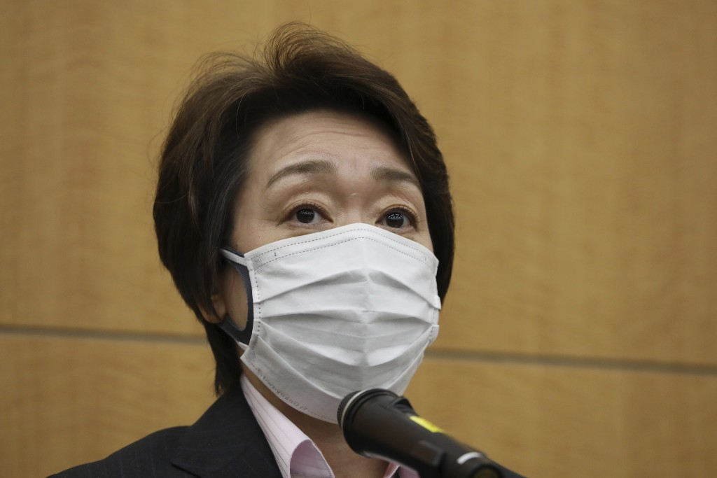 Seiko Hashimoto, president of the Tokyo Organizing Committee of the Olympic and Paralympic Games (Tokyo 2020), speaks before reporters after a five-pa...