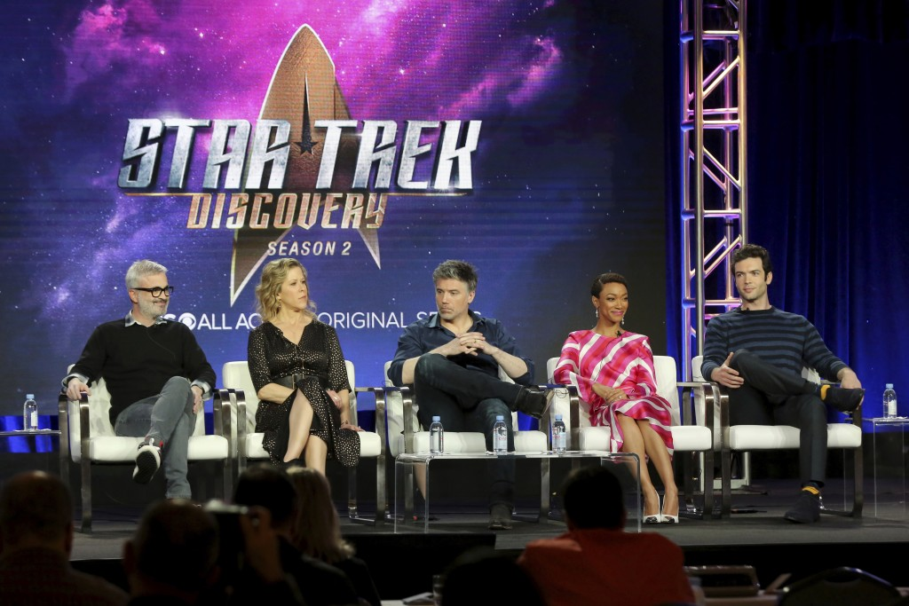 FILE - In this Jan. 30, 2019 file photo, Alex Kurtzman, from left, Heather Kadin, Anson Mount, Sonequa Martin-Green and Ethan Peck participate in the ...
