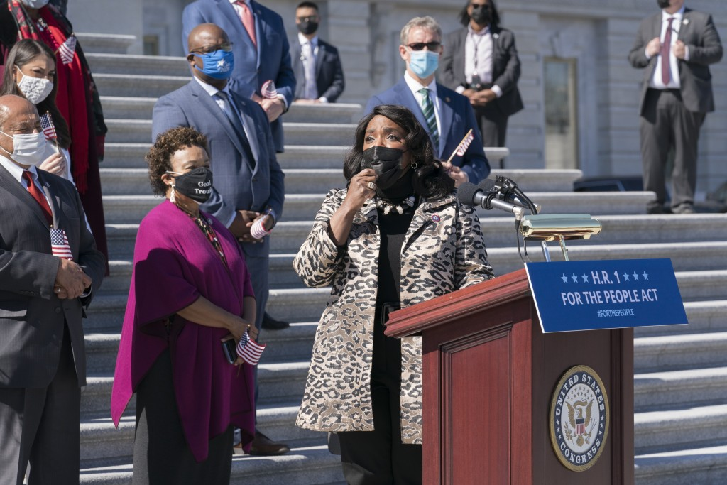 Rep. Terri Sewell, D-Ala., recalls the work of the late Rep. John Lewis as Democrats gather to address reporters on H.R. 1, the For the People Act of ...