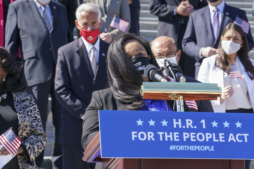 Rep. Nikema Williams, D-Ga, recalls the legacy of Rep. John Lewis as Democrats gather to address reporters on H.R. 1, the For the People Act of 2021, ...